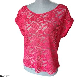 Aerie Coral Pink Lace Cap Sleeve Top Size Medium